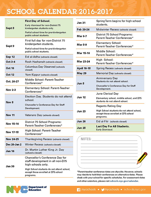 School Calendar 2016-2017 | John Dewey High School