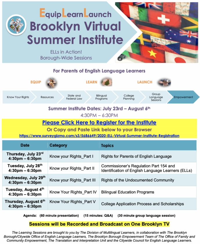 E.L.L Virtual Summer Learning Institute/Families of Multilingual Learners