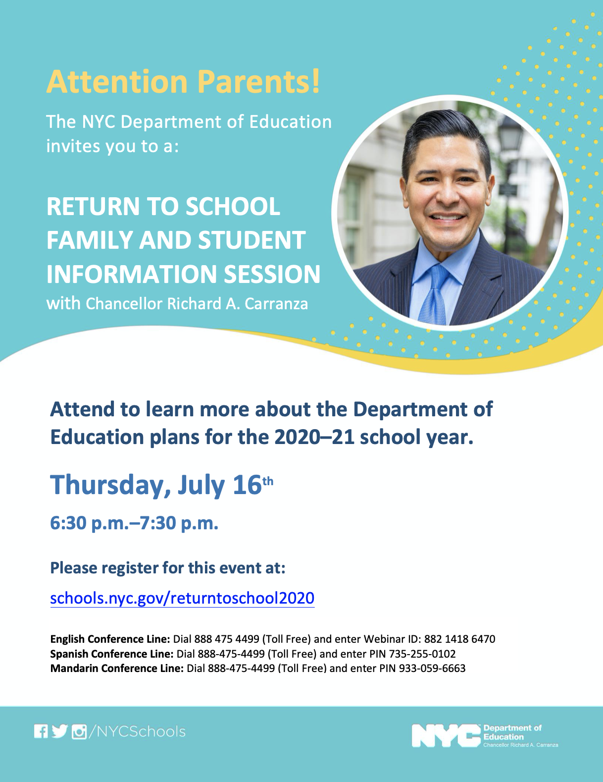 Return to School Family and Student Information Session - Thursday, July 16, 6:30-7:30 PM