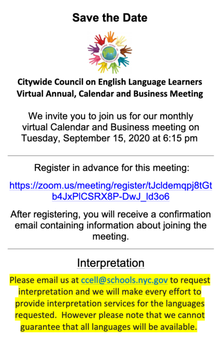 Citywide Council on English Language LearnersVirtual Annual, Calendar and Business Meeting