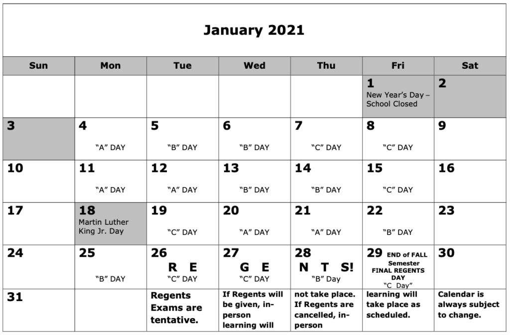 June 2021 Regents Calendar Images