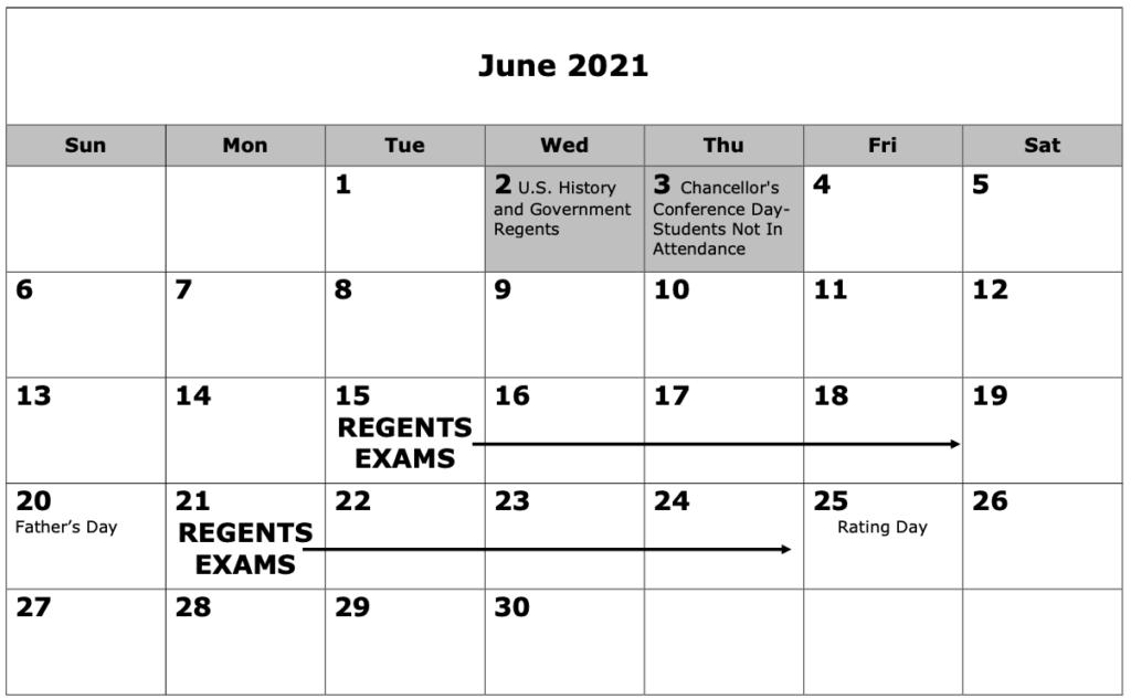 June 2021 Regents Calendar Pictures