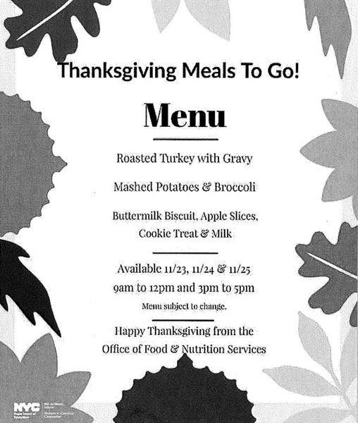 Thanksgiving Meals to go menu.