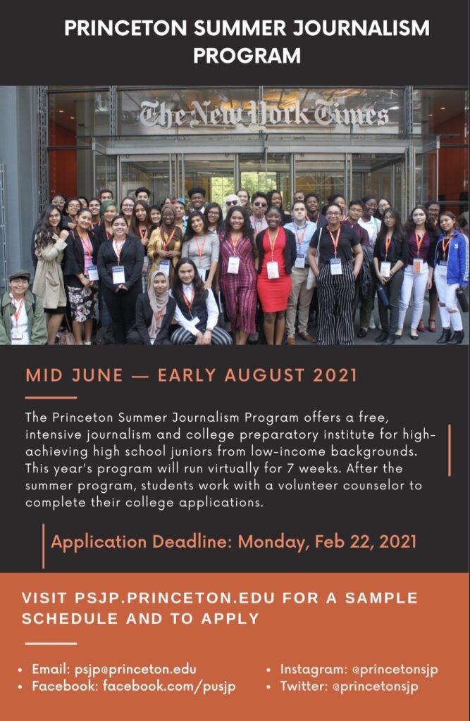 Free summer program at Princeton University